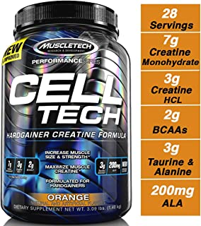 MuscleTech Cell Tech Creatine Monohydrate Formula Powder, HPLC-Certified, Improved Muscle Growth & Recovery, Orange, 30 Servings (3.09lbs)