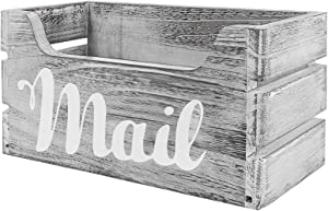 Farmhouse Decor Rustic Mail Holder Box, Rustic Wood Mail Organizer with Hanging Hardware Decorative Wooden Mail Holder for Wall Mail Organizer, Letter Holder Organizer Desk Decor (Rustic Grey)