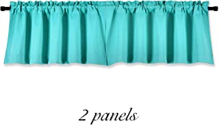 DONREN Turquoise Window Valances for Kitchen -Blackout Valances for Window with Rod Pocket (42 by 15 Inch,2 Panels)