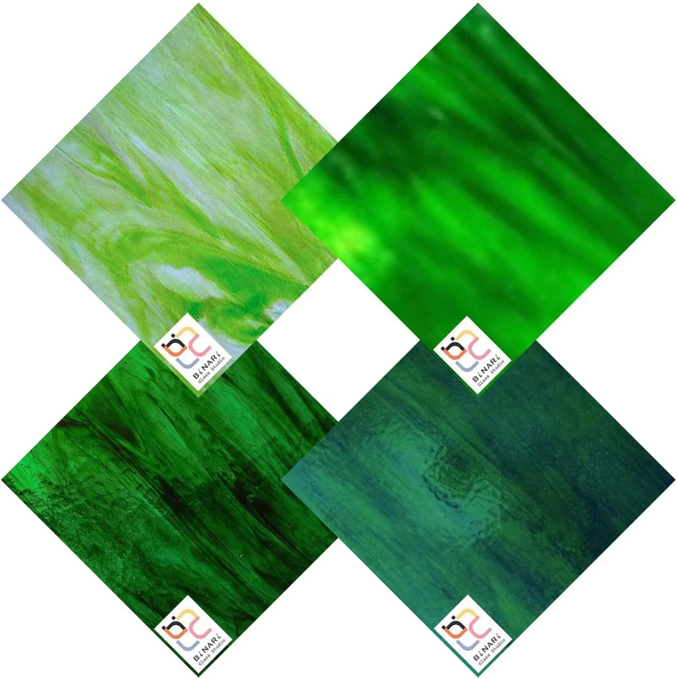 Wissmach 4 Sheet Mixed Color Variety Same day 2021 model shipping Glass Stained Pack Green