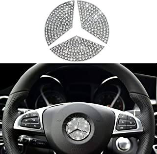 Compatible Steering Wheel Logo Caps for Mercedes Benz Accessories Parts Emblem Badge Bling Decals Covers Interior Decorations W205 W212 W213 C117 C E S CLA GLA GLK Class Crystal Silver (45mm)