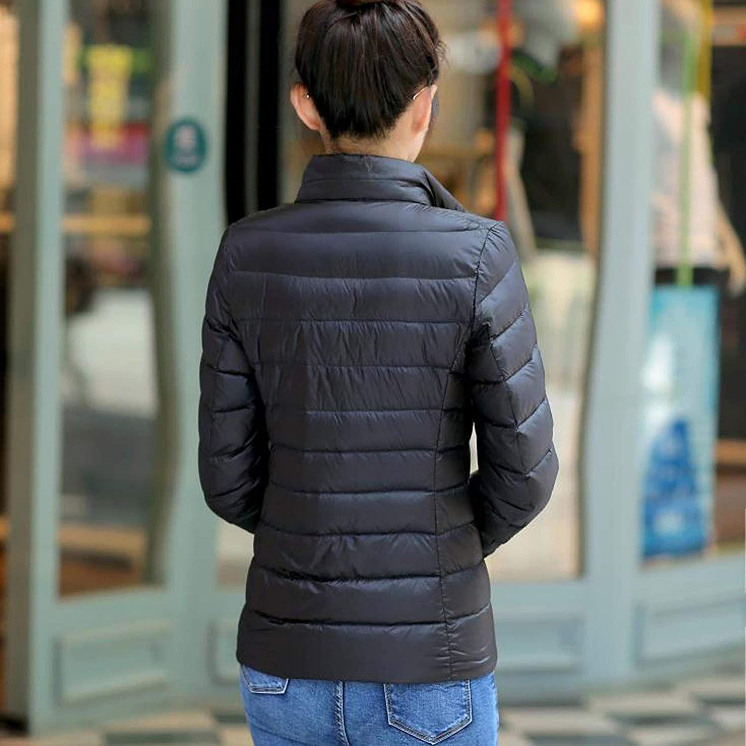 Nopeak Fashion Women Down Jacket with Pockets,Light and Warm Zipper Up Winter Jacket,Solid Color Coats for Outdoor
