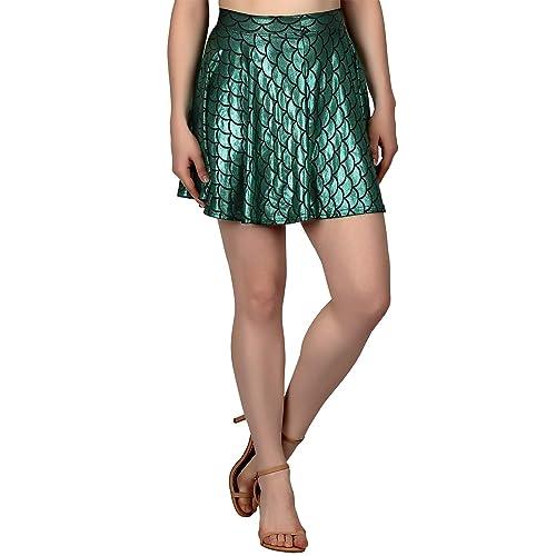 2779d7bca0 HDE Womens Shiny Mermaid Fish Scale Mini Flared Pleated Skater Skirt
