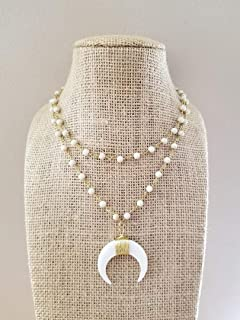 White Double Crescent Horn Necklace Rosary Beaded Stone Gold Chain