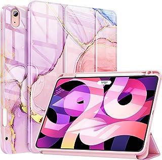 ZtotopCase für iPad Air 2020 Hülle (iPad Air 4. Generation   10,9'Zoll Hülle), mit Stifthalter, schlanke dreifach gefaltete Smart Case mit automatischer Sleep/Wake & Support Touch ID, Marmorrosa