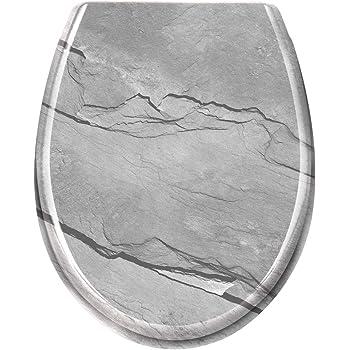 negro HENGMEI Tapa de wc Cierre Suave Tapa y asiento inodoro Asiento de Inodoro pl/ástico duro con bisagras extra/íbles sencilla instalaci/ón