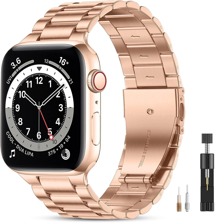 Vobafe Compatible con Correa Apple Watch 45mm 44mm 42mm 41mm 40mm 38mm SE, Pulsera de Repuesto de Metal de Acero Inoxidable Compatible con iWatch Series 7 6 5 4 3 2 1, Oro Real