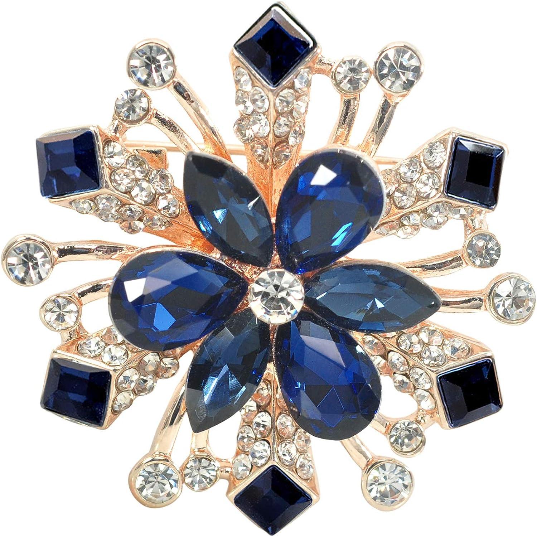 Gyn&Joy Crystal Winter Snowflake Brooch pins for Women