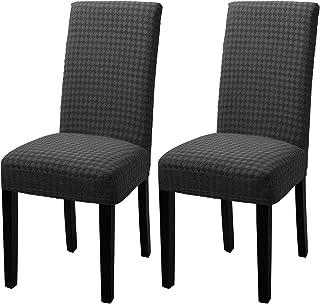 YISUN Fundas elásticas para sillas de comedor, fundas protectoras para sillas de comedor, desmontables, lavables, fundas protectoras para sillas de comedor, juego de 2, color gris oscuro