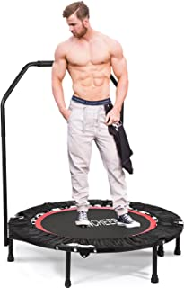 featured product ANCHEER Fitness Exercise Trampoline with Handle Bar, 40 Foldable Rebounder Cardio Workout Training for Adults or Kids (Max. Load 300lbs, Zero Stretch Jump Mat) (Red)