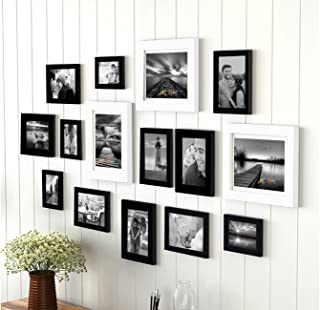 Painting Mantra Art Street Sumptuous Memories Individual Fiber Wood Photo Frame (Black And White, Set Of 15)