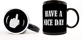 Funny Coffee Mug | Have A Nice Day Middle Finger Coffee Mug Funny Coffee Cup 11oz Black Ceramic Mug, Funny Gift For Woman Or Man | Great Christmas Gift Idea