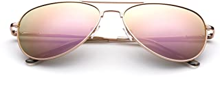 Kyra Kids Polarized Kids Teens Juniors Aviator Polarized Sunglasses Stainless Steel Frame Spring Hinge UV Protection