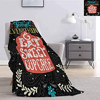 Quote Fluffy Blanket Microfiber Forget Everything and Eat Sweet Cupcake Phrase with Doodle Floral Ornaments Print Soft Fuzzy Blanket for Couch Bed W54 x L72 Inch Multicolor