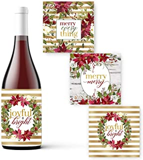 Rustic Wine Bottle Labels for Christmas (15 Pack) Poinsettia Holiday Party Supplies Gift-Bag Stickers Multiple Uses