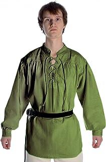 Camisa medieval con cordón y cuello alto, color natural - negro - rojo oscuro - verde - cáñamo, talla...