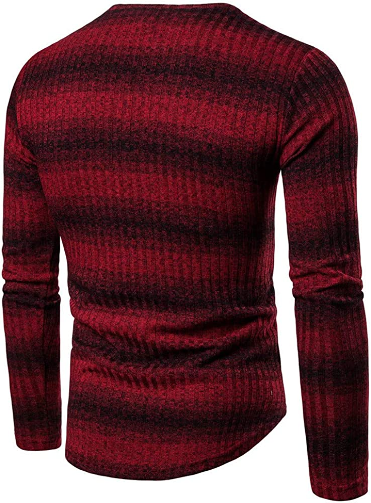 Mens Gradient Stripe Winter Pullover Knitted Top Striped Sweater Outwear Blouse