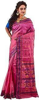 SareesofBengal Women's Jamdani Olive Green Cotton Handloom Tangail Bengal Tant Saree