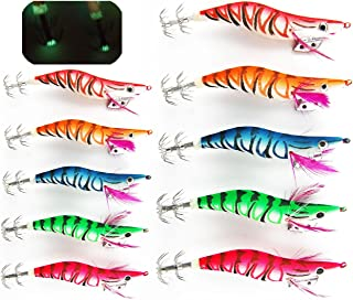 JSHANMEI Squid Jig Hard Fishing Lures Shrimps Prawn Luminous Tail Glow in Dark Artificial Spinner Lures Kit Tackle Hook for Cuttlefish Octopus