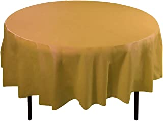 6-Pack Premium Plastic Tablecloth 84in. Round Plastic Table cover - Gold