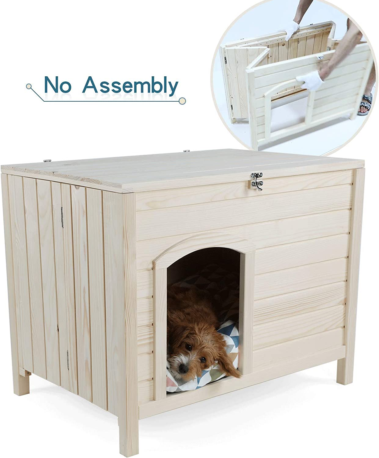 Petsfit No Assembly Indoor Wooden Dog House for Small Dogs 102cm x 53cm x 61cm One Step Installment