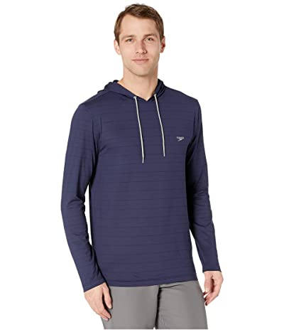 Speedo Long Sleeve Hooded Rashguard (Peacoat) Men