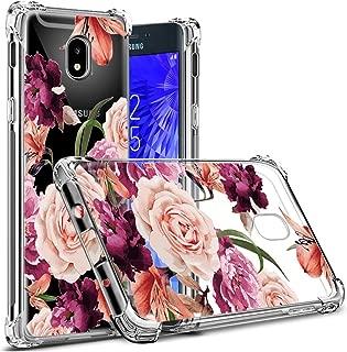 Osophter Compatible with Samsung Galaxy J3 2018 Flower Case,Samsung J3 Star Floral Case J3 Achieve/J3 Orbit Case Flexible TPU Rubber Soft Silicone Galaxy J3 V 3rd (Purple Flower)