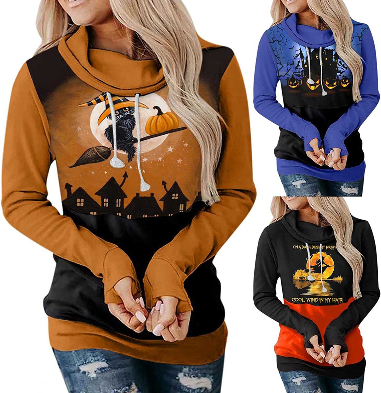 Toeava Women's Casual Hoodies Long Sleeve Contrast Color Witch Pumpkin Face Print Halloween Pullover Blouse Loose Tops