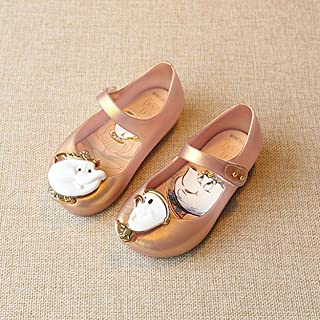 Trendy Mary Jane Shoes with Nylon Tape Closure Waterproof Low-Cut Jelly Sandals with Lovely Cartoon Decor Unisex