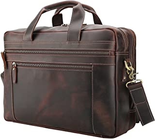Polare Men's Full Grain Leather 17'' Briefcase Laptop Business Bag with YKK Zippers