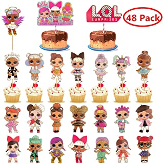 MJMEISIYU 48 Pack LOL Cake Topper, LOL Happy Birthday Party Supplies Cupcake Topper, LOL Cake Decorations (1)
