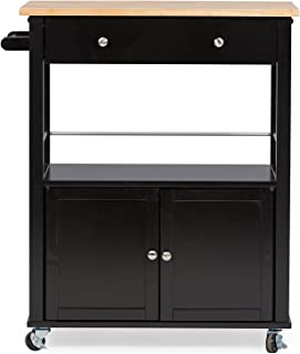 Baxton Studio Denton Contemporary Kitchen Cart with Wood Top, Black