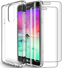 (3 in 1) for LG Stylo 4 Case + (2 Pack) Glass Screen Protector Slim Clear Soft TPU Silicone Phone Case Cover with (Clear) for LG Stylo 4 Plus, LG Q Stylus