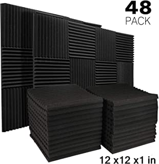 "JBER 48 Pack Charcoal Acoustic Panels Studio Foam Wedges Fireproof Soundproof Padding Wall Panels 1"" X 12"" X 12"""
