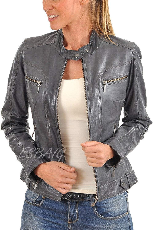 ESBAIG Womens Leather Jackets Stylish Motorcycle Bomber Biker Real Lambskin Leather Jacket for Women 504