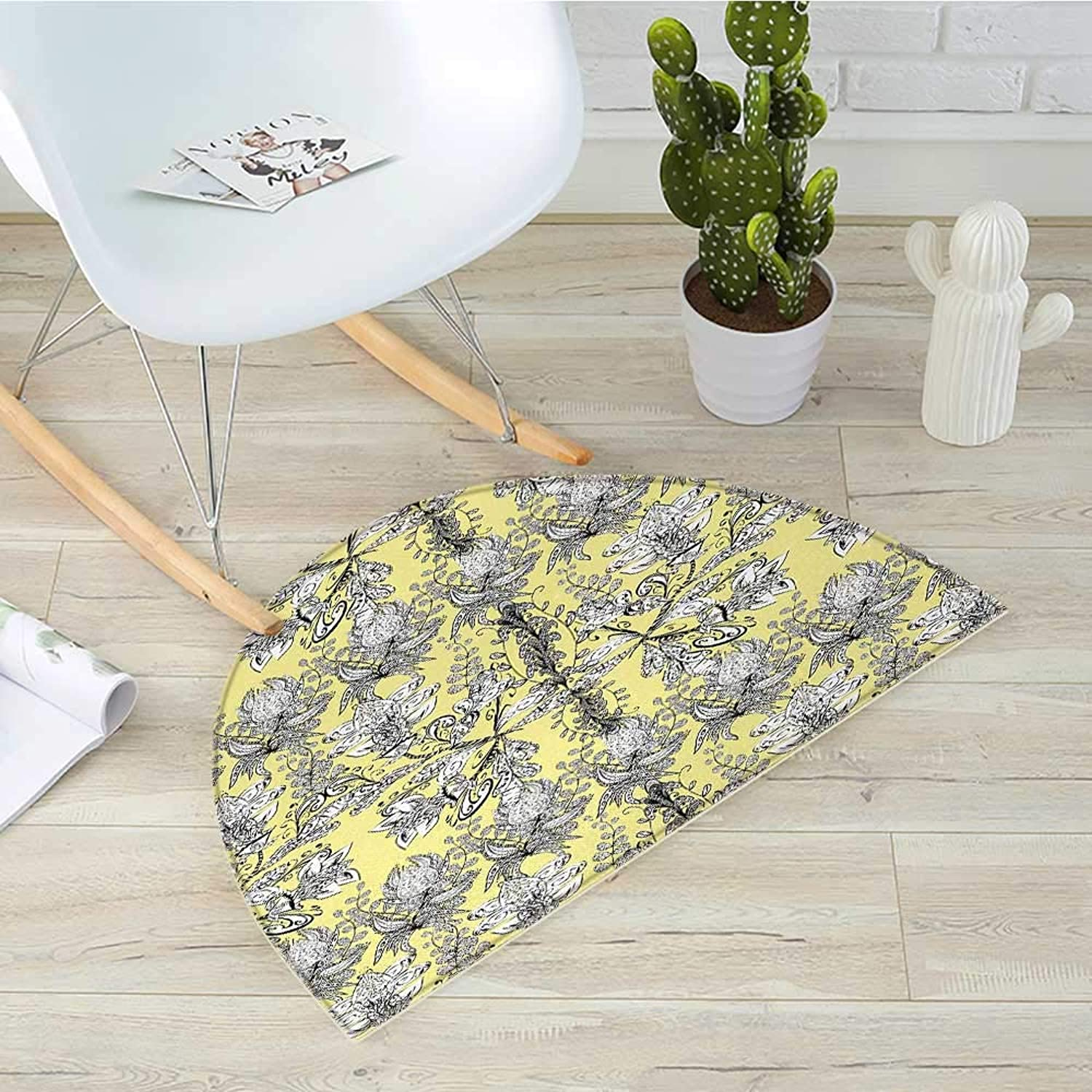 Grey and Yellow Semicircular CushionEthnic Tribal Bohem Design with Flowers Leaves Swirls and Dots Image Entry Door Mat H 47.2  xD 70.8  Black and White