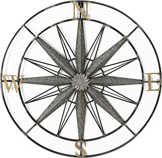 Adeco Decorative Compass Metal Wall Hanging Art Decor for Nature Home Art Decoration & Kitchen Holiday Wall Decorations, Christmas Wall Art Gifts - 27.5x27.5 Inches