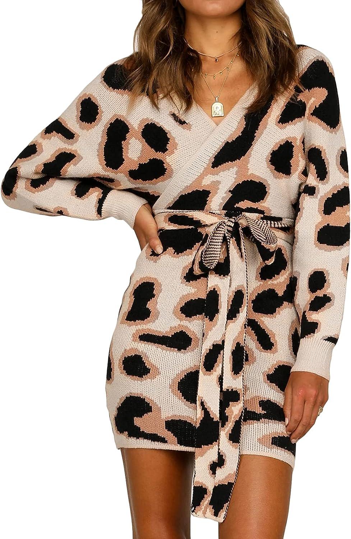 Lu's Chic Women's Long Sleeve Dress V Neck Cardigan Knit Sweater Short Cheetah Leopard Cotton