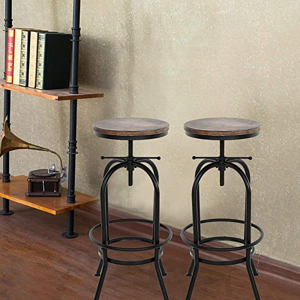 IKAYAA Set Of 2 Vintage Industrial Bar Stools Height Adjustable Retro Kitchen Bar Chairs Natural Pinewood Top
