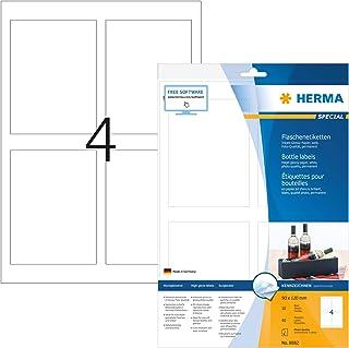 Herma 8882 - Paquete de 40 etiquetas adhesivas rectangulares (90 x 120 mm, especiales para botellas), color blanco brillante