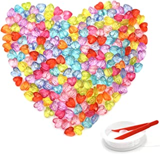 HZOnline Acrylic Beads Love Heart Transparent Faceted Plastic Dispersed Colorful Loose Beads for DIY Jewelry Making, Necklaces, Bracelets (200PCS 12X12mm)