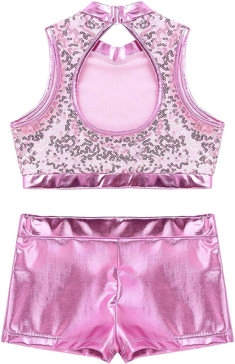 YOOJIA Kids Girls 2PCS Metallic Dance Sport Outfit Active Cutout Back Top with Short Set for Gymnastics Leotard Swimwear Costume