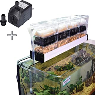 AE-SHOP KZKR Aquarium Filter Pump Set Fish Tank Upper Trickle Box Canister Filter System for 1.3-1.8 Feet Tank with 6 Clear Boxes