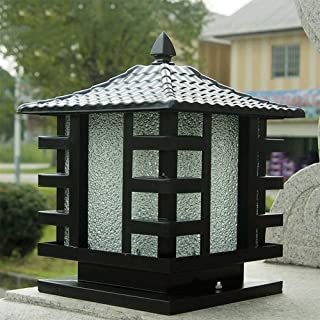 G-Post Lights Outdoor Pillar Lamp Villa Glass Lantern Column Light E27 Decoration Street Post Light Factory Wall Villa Garden Fence Patio Light Accent Lighting (Color : Black)