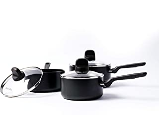 GreenPan, Memphis Ceramic Non-Stick Saucepan Set - 3 Pieces, Black