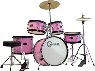 Gammon 5-Piece Junior Starter Drum Kit with Cymbals, Hardware, Sticks, & Throne - Pink