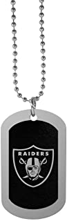 NFL Siskiyou Sports Fan Shop Las Vegas Raiders Chrome Tag Necklace 26 inch Black