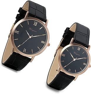 Mens Watch Quartz Analog Roman Numeral Dial Rose Gold Tone Black Leather Band Casual Business Dress Bracelet Bangle Wristwatch