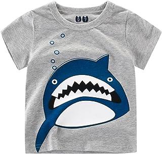 Baby Boys Short Sleeve Crew Neck Blouse Tees Summer Basic Organic Graphic T-Shirts