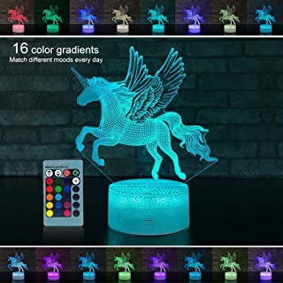 Palawell Unicorn Night Light for Girls,Unicorn Gifts for Kids led dimmable 3D Illusion Lamp,16 Colors Changing Unicorn Toys,Kids Toys Room Decor Lighting As Birthday Gift Christmas Gifts-Bedside Lamp